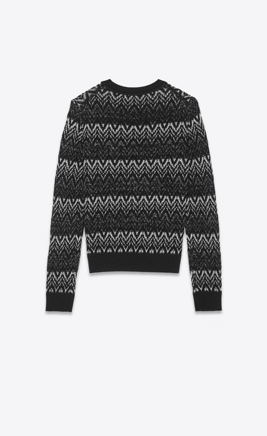 SAINT LAURENT Knitwear Tops Man Sweater in black and silver zigzag knit b_V4