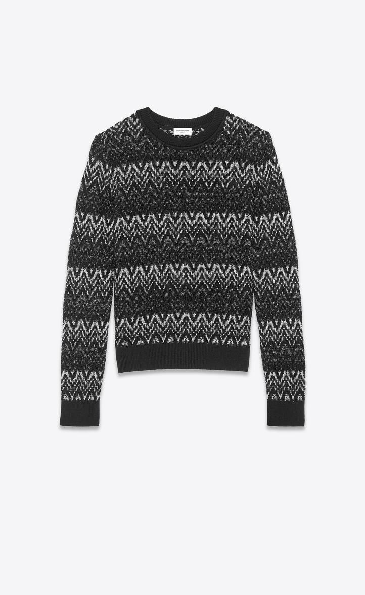セーター(ブラック&シルバー/ジグザグニット)