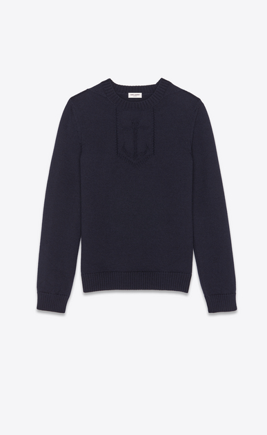 SAINT LAURENT Knitwear Tops Man Anchor sweater in a navy blue knit a_V4