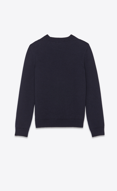 SAINT LAURENT Knitwear Tops Man Anchor sweater in a navy blue knit b_V4