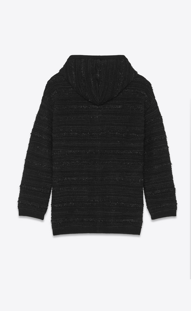 SAINT LAURENT Knitwear Tops Man Baja with textured stripes in black knit b_V4