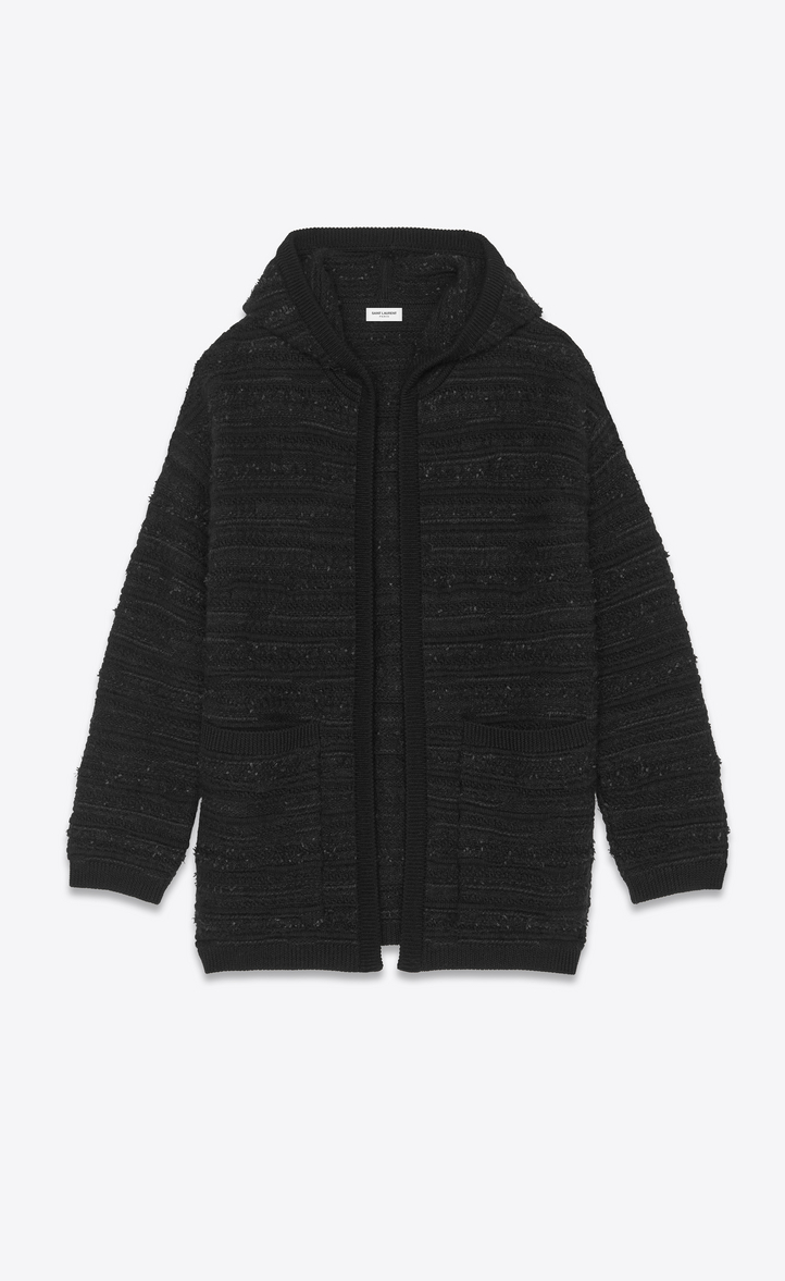 SAINT LAURENT Bouclé Wool-Blend Hooded Cardigan in Black