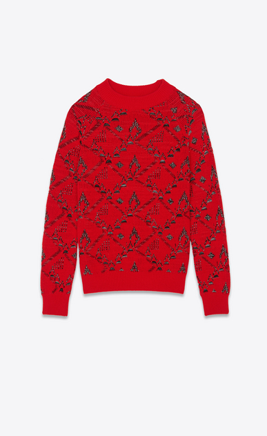 SAINT LAURENT Knitwear Tops Man Sweater in a red floral jacquard knit a_V4