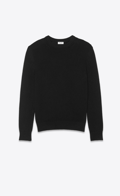 SAINT LAURENT Knitwear Tops Man Sweater in black cashmere a_V4