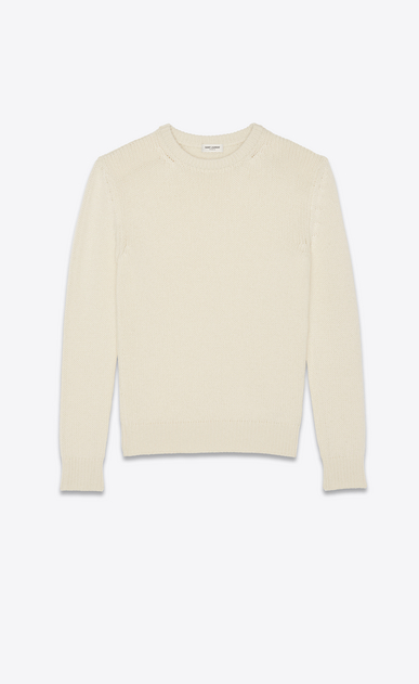SAINT LAURENT Knitwear Tops Man Sweater in beige cashmere a_V4