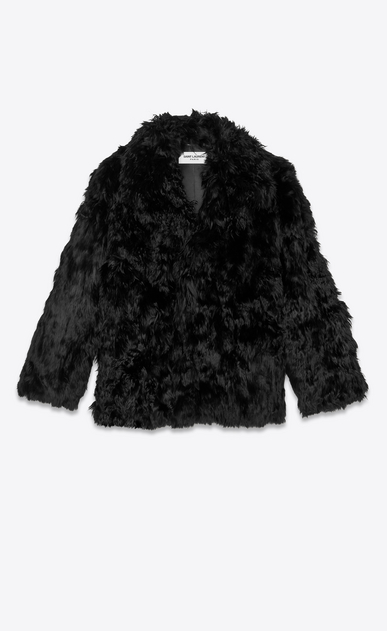 SAINT LAURENT Coats Man Short coat in black alpaca a_V4