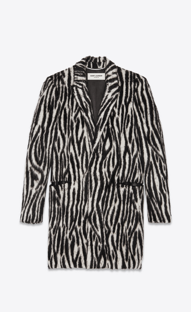 SAINT LAURENT Coats Man Coat in black and white zebra faux fur a_V4