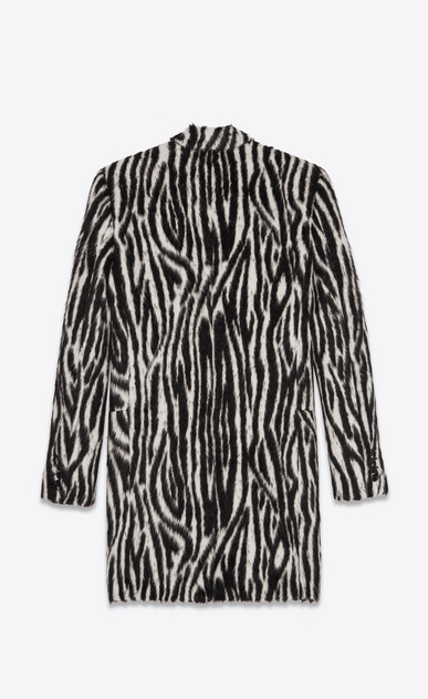 SAINT LAURENT Coats Man Coat in black and white zebra faux fur b_V4