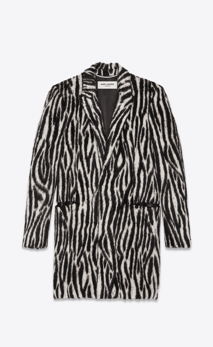 Pelliccia Sintetica Nera E Saint Cappotto Zebra Laurent In Bianca wz6tPq