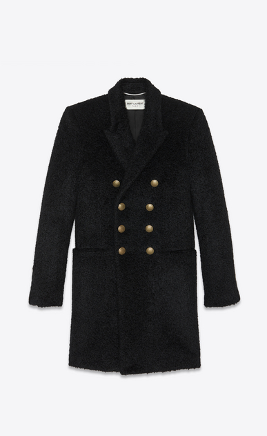 SAINT LAURENT Coats Man Military coat in black wool and mohair a_V4