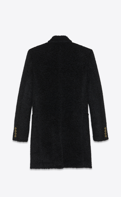 SAINT LAURENT Coats Man Military coat in black wool and mohair b_V4