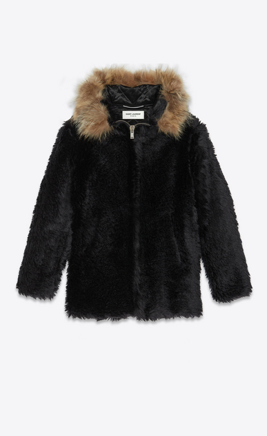 SAINT LAURENT Leather jacket Man Parka in vintage faux fur with raccoon collar a_V4