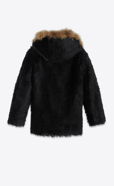 SAINT LAURENT Leather jacket Man Parka in vintage faux fur with raccoon collar b_V4