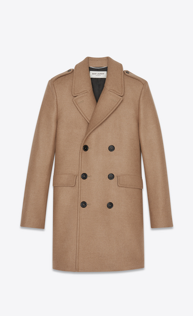 SAINT LAURENT Coats Man Coat in camel wool a_V4