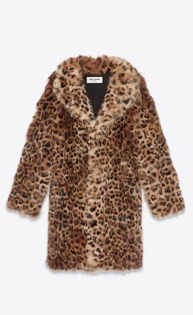 SAINT LAURENT Leather jacket Man Coat in leopard print fox a_V4