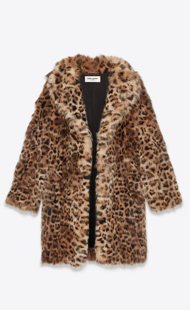 SAINT LAURENT Leather jacket Man Leopard print fox fur coat b_V4