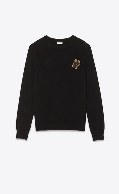 SAINT LAURENT Knitwear Tops Man Sweater with SL playing card patch in black cashmere a_V4