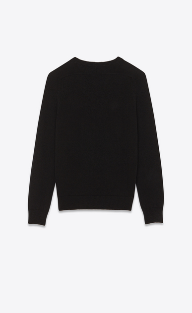 SAINT LAURENT Knitwear Tops Man Sweater with SL playing card patch in black cashmere b_V4
