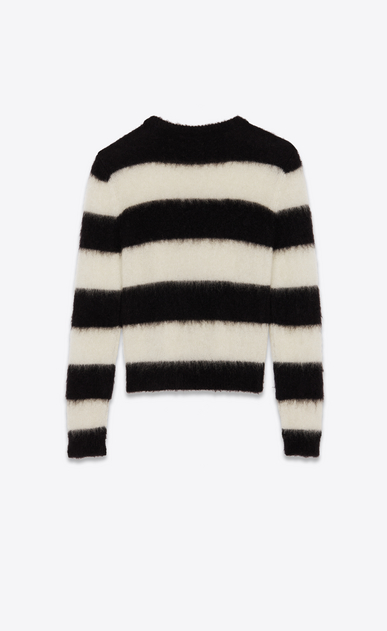 SAINT LAURENT Knitwear Tops Man Striped sweater in off-gauge black and white mohair b_V4