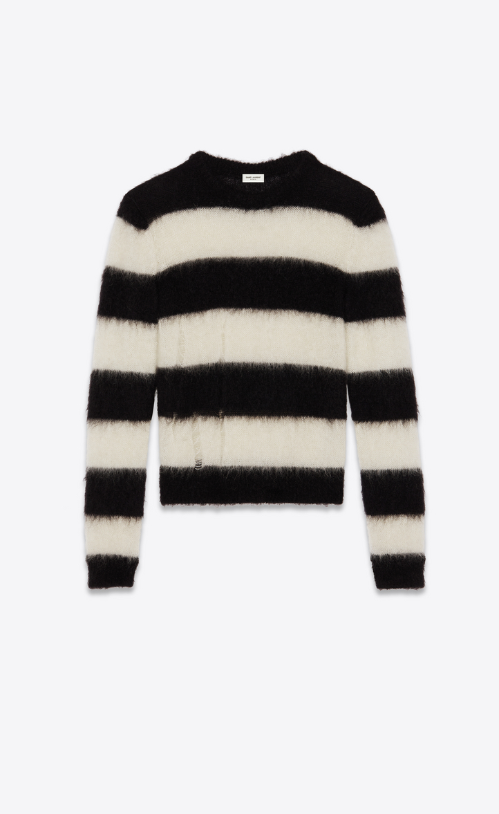 SAINT LAURENT Distressed Striped Mohair-Blend Sweater, Black