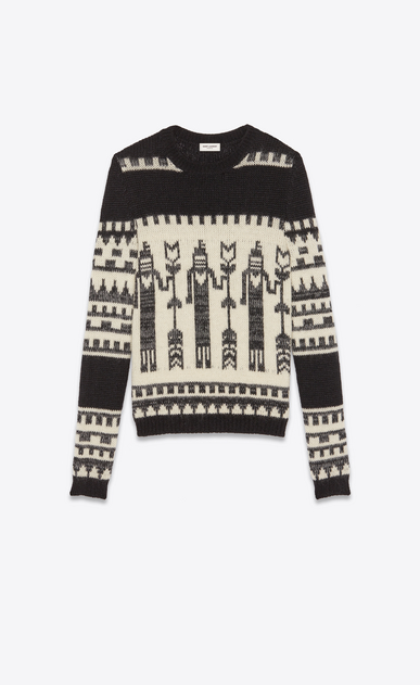 SAINT LAURENT Knitwear Tops Man Totem sweater in a black and white jacquard knit a_V4