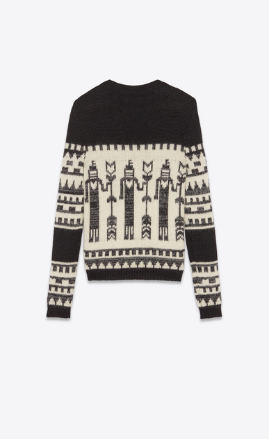 SAINT LAURENT Knitwear Tops Man Totem sweater in a black and white jacquard knit b_V4