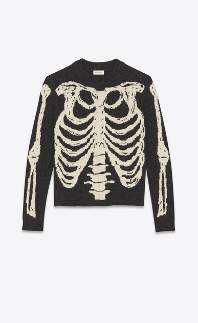 SAINT LAURENT Knitwear Tops Man Skeleton sweater in a black and gray jacquard knit a_V4