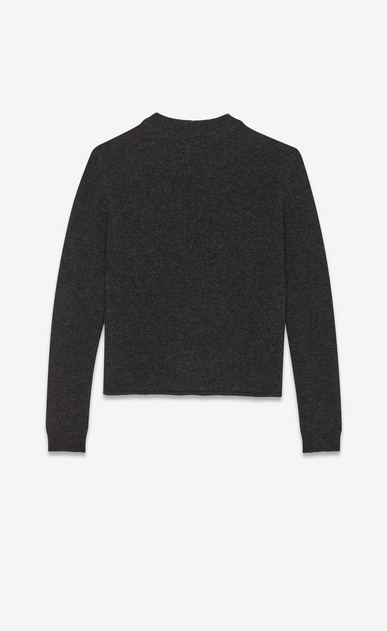SAINT LAURENT Knitwear Tops Man Skeleton sweater in a black and gray jacquard knit b_V4