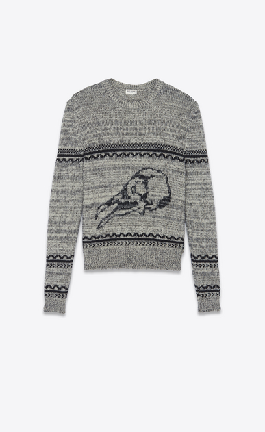 SAINT LAURENT Knitwear Tops Man Bird skull sweater in a gray and black jacquard knit a_V4