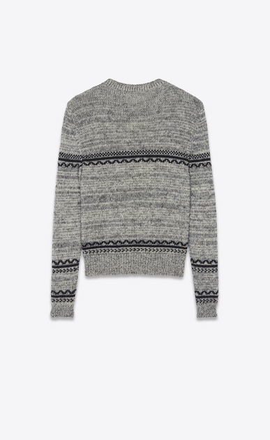 SAINT LAURENT Knitwear Tops Man Bird skull sweater in a gray and black jacquard knit b_V4