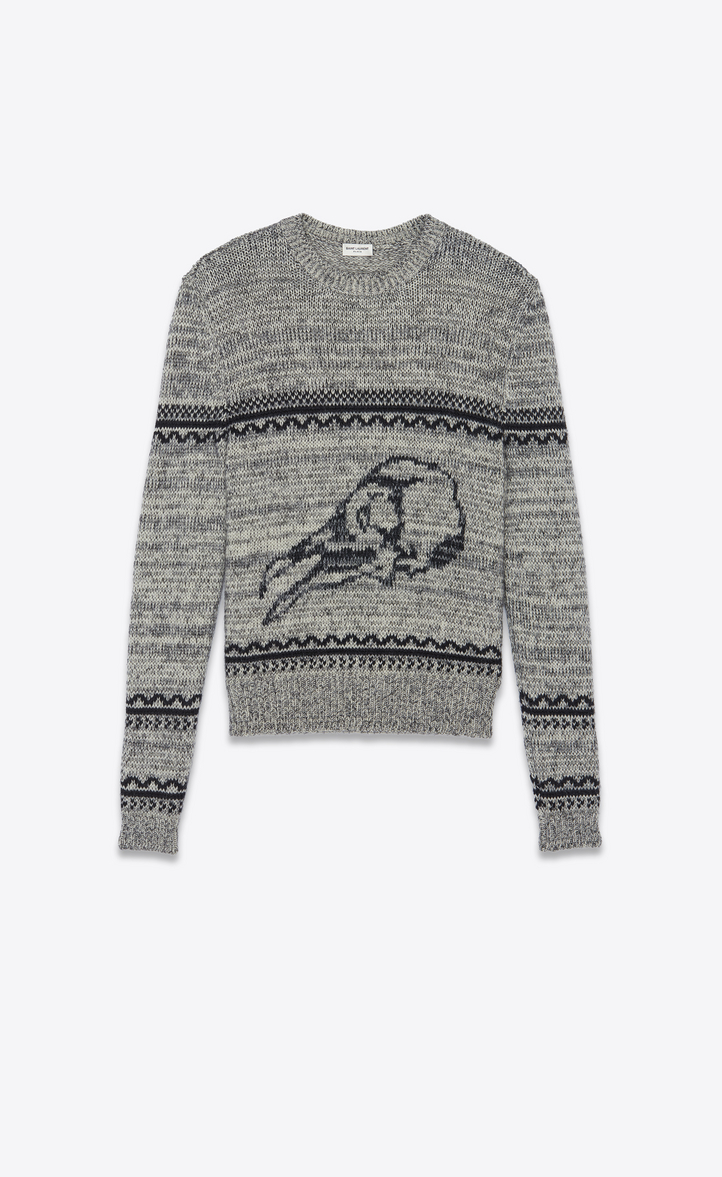 バードスカル セーター(グレー&ブラック/ジャカードニット)