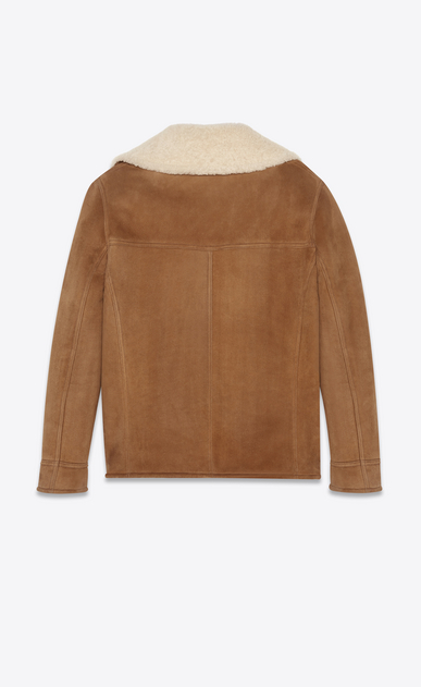 SAINT LAURENT Leather jacket Man Trapper jacket in cognac suede and beige shearling b_V4