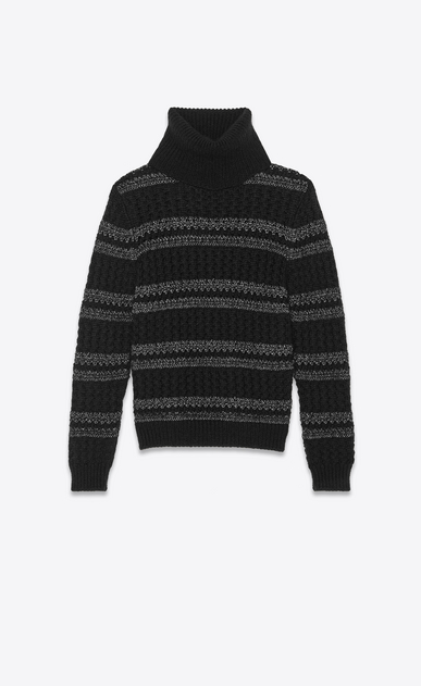 lurex striped cable knit turtleneck