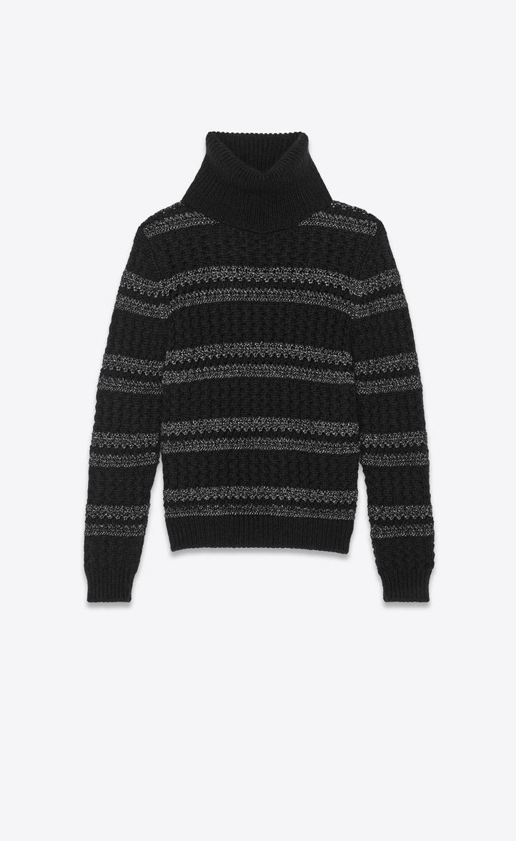 ロールネックセーター(ブラック&シルバー/ケーブルニット)