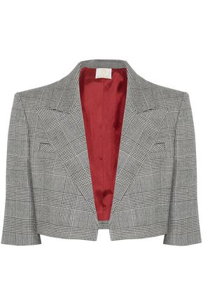 SARA BATTAGLIA Cropped Prince of Wales checked wool-blend blazer