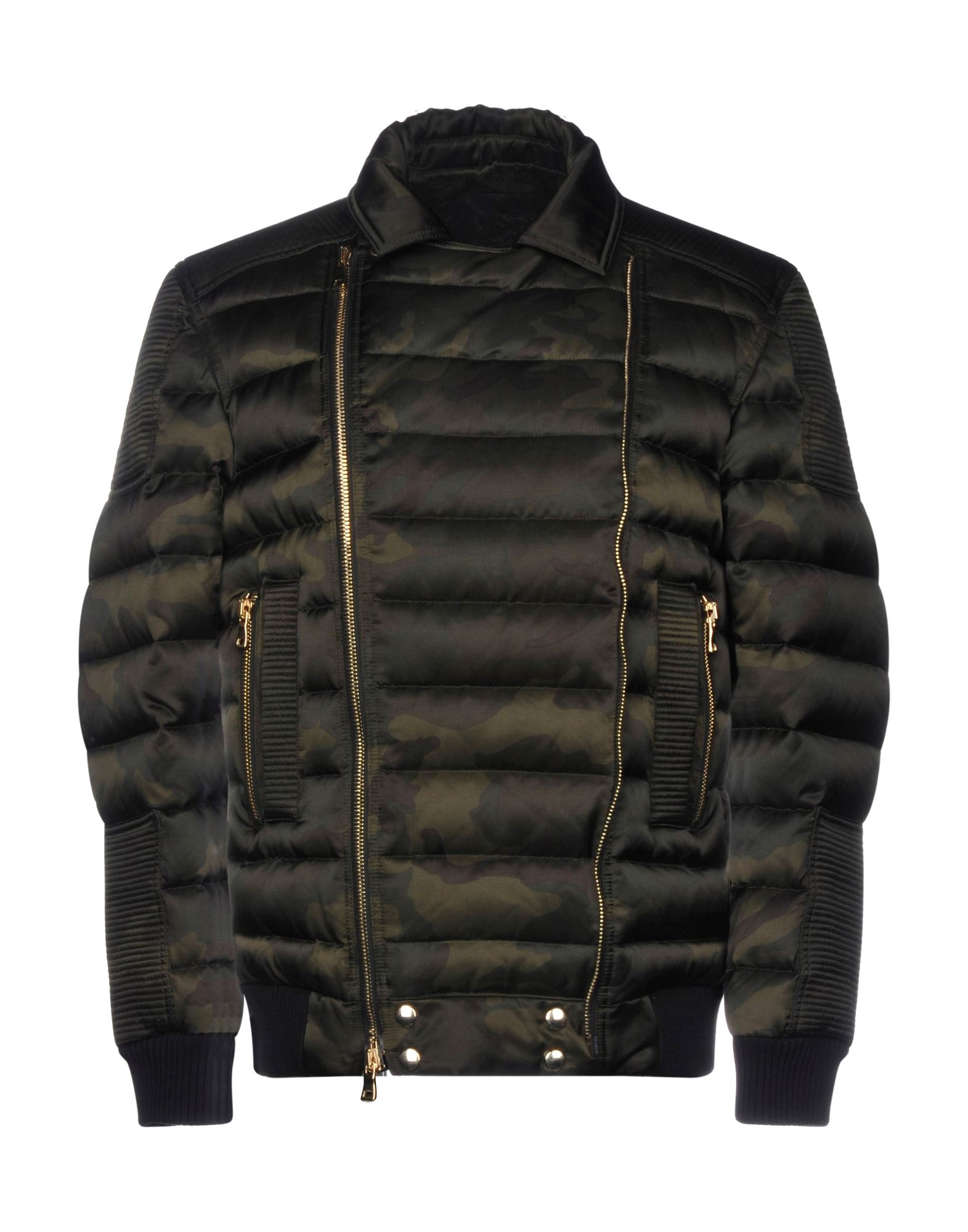 BALMAIN Down jackets. techno fabric, no appliqués, zip, camouflage, single-breasted, multipockets, long sleeves, lapel collar, goose down interior, contains non-textile parts of animal origin, biker style, small sized. 58% Cotton, 42% Rayon