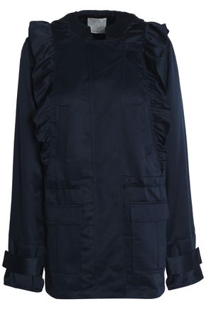 JOIE Ramius ruffle-trimmed satin-twill hooded jacket