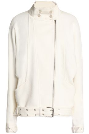 IRO Belted woven cotton-blend biker jacket
