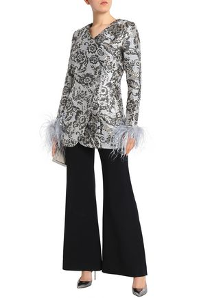 ALICE McCALL Bold And The Beautiful feather-trimmed brocade mini dress