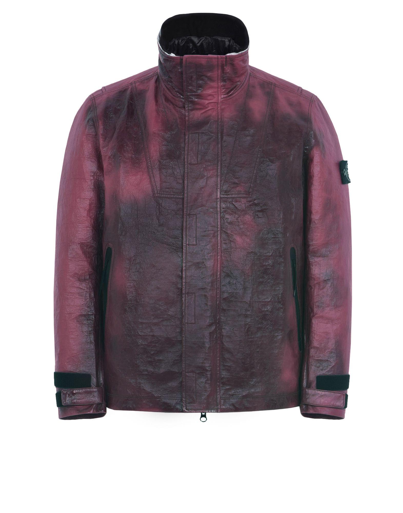 STONE ISLAND Leather Jacket 00199 ICE JACKET IN DYNEEMA® BONDED LEATHER