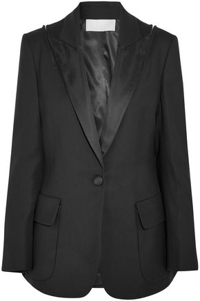 MONSE Zip-detailed satin-trimmed wool-blend twill blazer