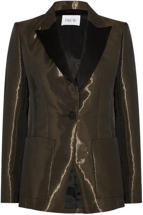 PALLAS Satin-trimmed metallic crepe blazer