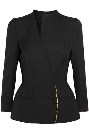 HAIDER ACKERMANN Asymmetric metallic embroidered wool peplum jacket