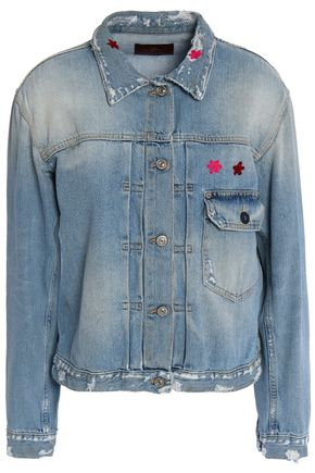 7 FOR ALL MANKIND Distressed embroidered denim jacket