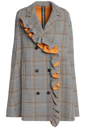 MSGM Ruffled checked cotton-blend twill cape