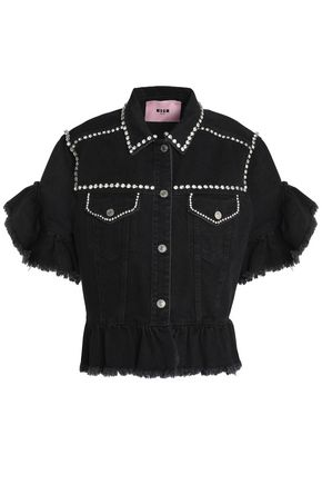 MSGM Crystal-embellished ruffle-trimmed denim jacket