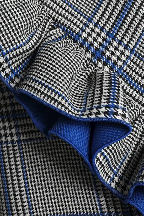 MSGM Ruffled Prince of Wales checked cotton-blend cape