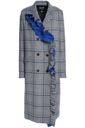 MSGM Double-breasted ruffled checked cotton-blend twill coat