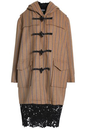MSGM Lace-trimmed striped wool-blend felt coat