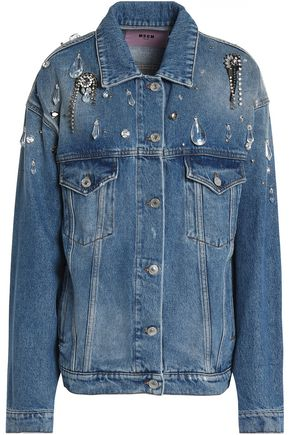 MSGM Crystal-embellished denim jacket